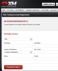 XM Registration - Step 1