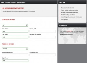 XM Registration - Step 2