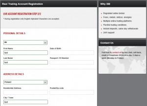 XM Registration - Step 2